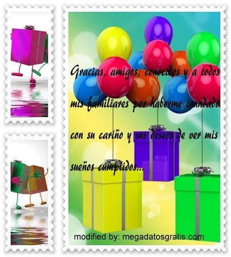Frases para agradecer saludos de cumpleaños,,textos por facebook para agradecer saludos de cumpleaños