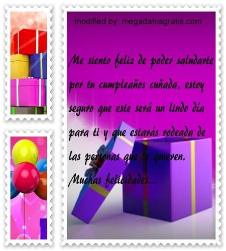 Textos de cumpleaños cuñada, Bonitas dedicatorias de feliz cumpleaños para tu cuñadita