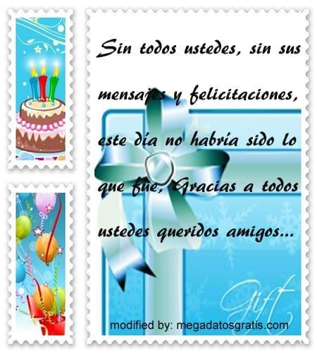 Mensajes de agradecimiento por cumpleaños,textos para agradecer saludos de cumpleaños