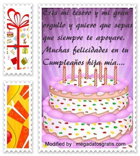 Frases de cumpleaños hija,tarjetas para enviar saludos de cumpleaños para mi hija