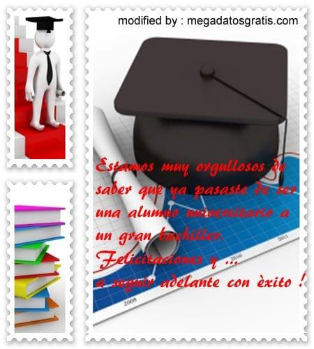 Frases bonitas por graduación de bachiller | Mensajes GRATIS siempre !