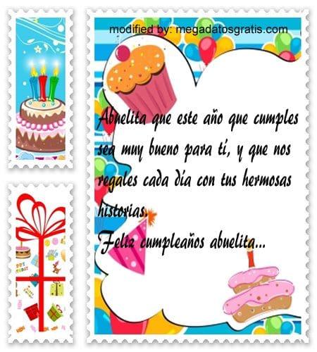 Palabras de cumpleaños abuela,Originales sms para saludar a tu abuela por su cumpleaños